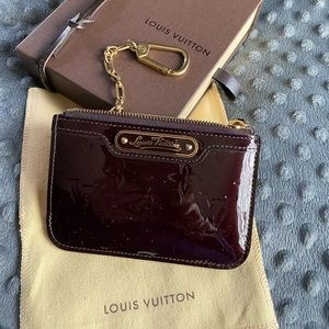 Louis Vuitton patent leather coin purse/keychain